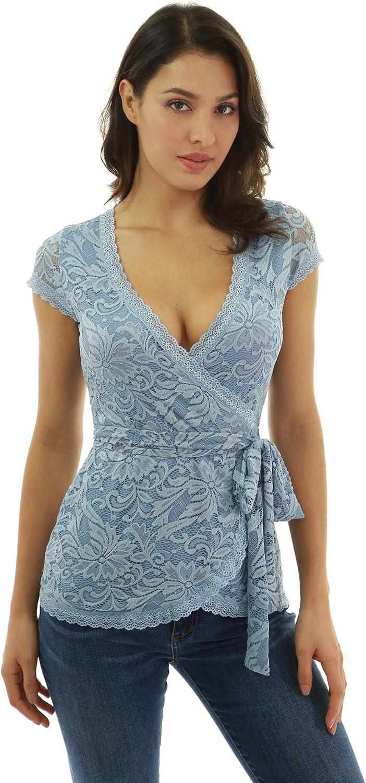 PattyBoutik Women Floral Lace Wrap Blouse