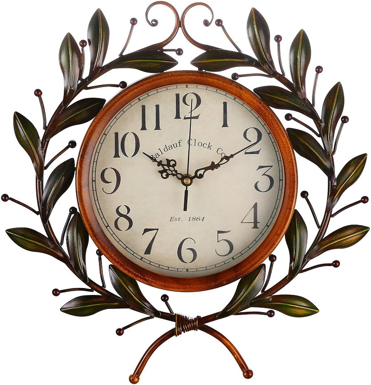 Olive Branch Vintage Clock, Eruner European Large Decorative Wall Art Non-ticking Quartz Clock Unique for Family Living Room