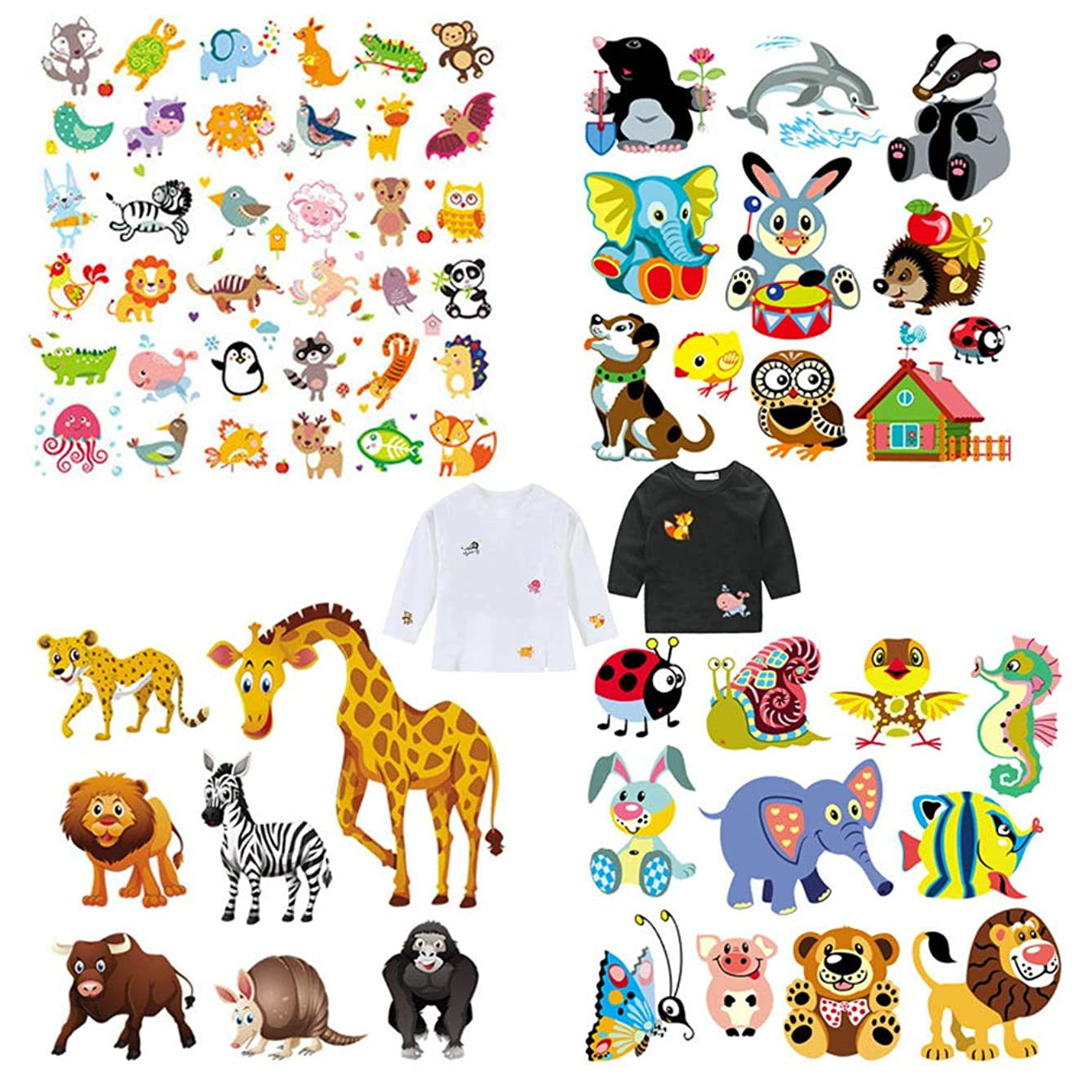 Kids Patches Lovely Animal Iron on Transfer Stickers with Many Different Cute Lion Cow Leopard Cartoon Things Appliques Stickers Boys Girls Children Clothes Decor Free DIY 4 PCS