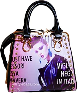 Image Magazine bling black Print Shoulder Bag Handbag Rhinestone designer