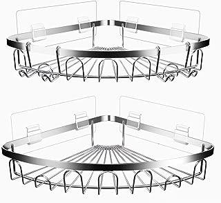 PHNANSOW 浴室用コーナーラック コーナーラック バス 浴室 ラック コーナー 2段 お風呂 棚 ステンレスラック サビ防止 強力粘着固定 穴あけ不要 2個セット