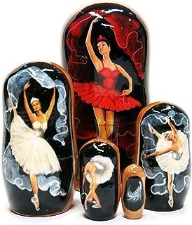 Prima Ballerina Russian Bolshoi Ballet Dancer 5 Piece Hand Painted Nesting Doll - 4 inches Tall