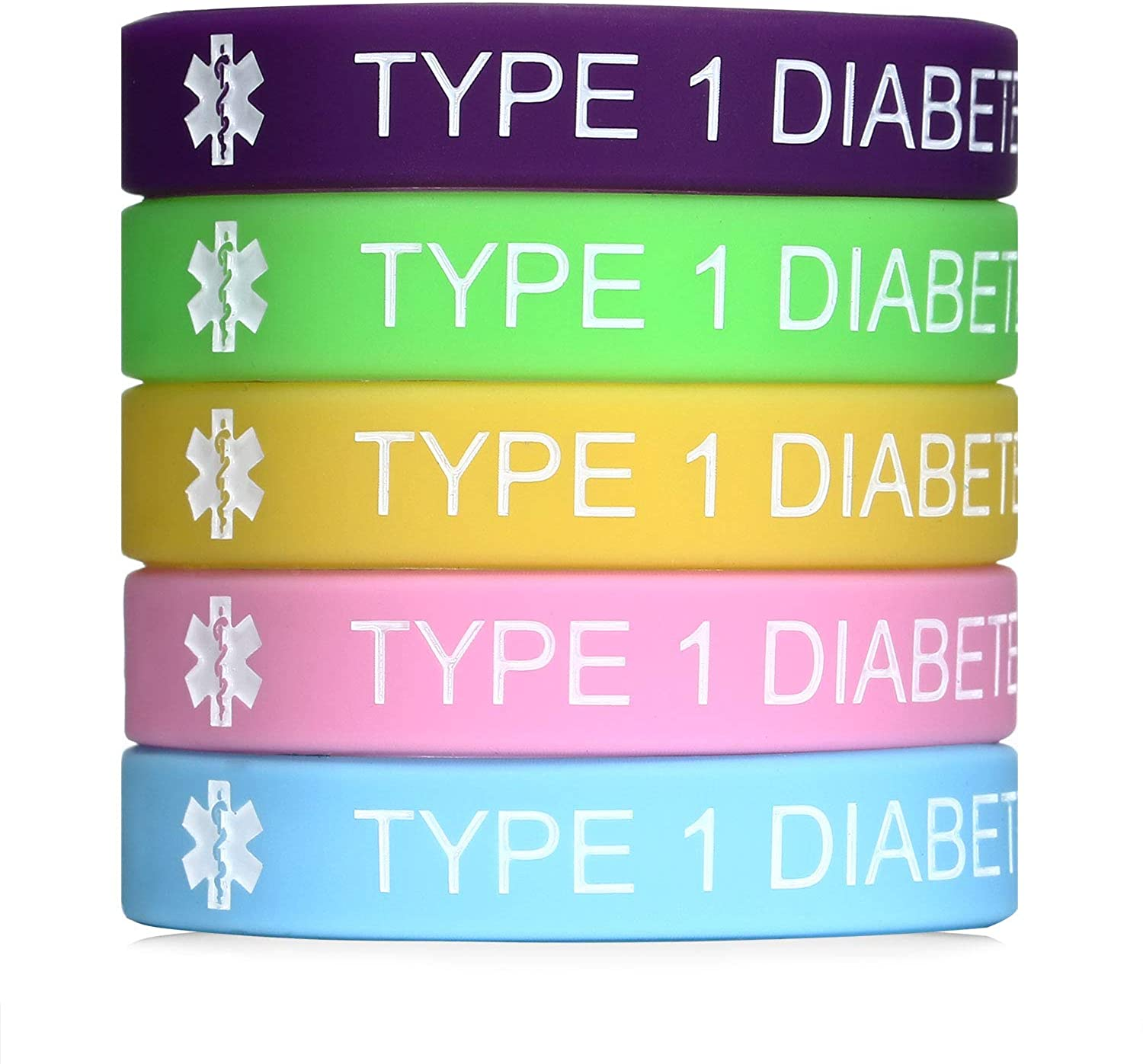 Type 1 Diabetes Medical Alert Silicone Bracelet for Women & Kids 7.5 inches,Pack of 5