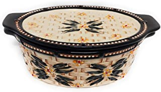 Temp-tations Basketweave 1.5 Qt Oval Baker w/Tab Handles and Lid-It (Tray) and Plastic Cover (Old World Black)