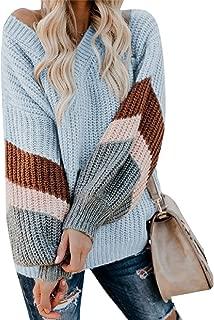 Women's Lightweight Lantern Sleeve V Neck Color Block Chunky Pullover Jumper Sweater