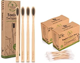 FutureUses® - 400 Bamboo Cotton Buds + 4 Bamboo Toothbrushes - Bamboo Swabs - Toothbrush - Biodegradable Handle and Packag...