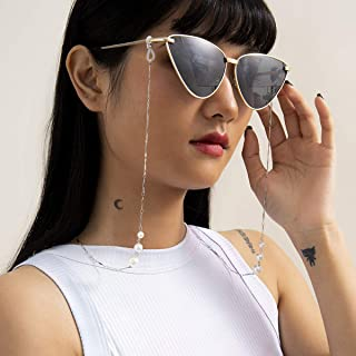 Aimimier Bohemian Pearl Sunglass Chain Eyeglasses Necklace Lanyard Necklace Stylish Eyeglasses Strap Chain Hanger for Wome...
