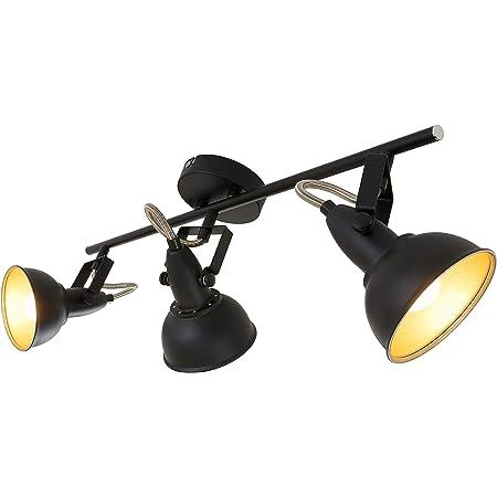 Briloner Leuchten Plafonnier vintage avec 3 spots pivotants en noir & or mat – Douille E14, 40w max. – Idéal pour le salon ou la chambre à coucher