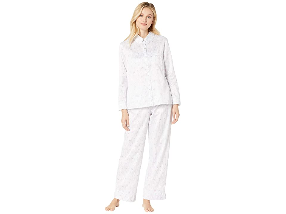 Carole Hochman Brushed Back Satin Pajama Set (Stripe Ditsy Floral) Women