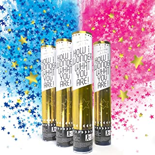 Sweet Baby Co. Baby Gender Reveal Confetti Cannon with Color Powder Boy or Girl Blue Confetti Smoke and Pink Confetti Smok...