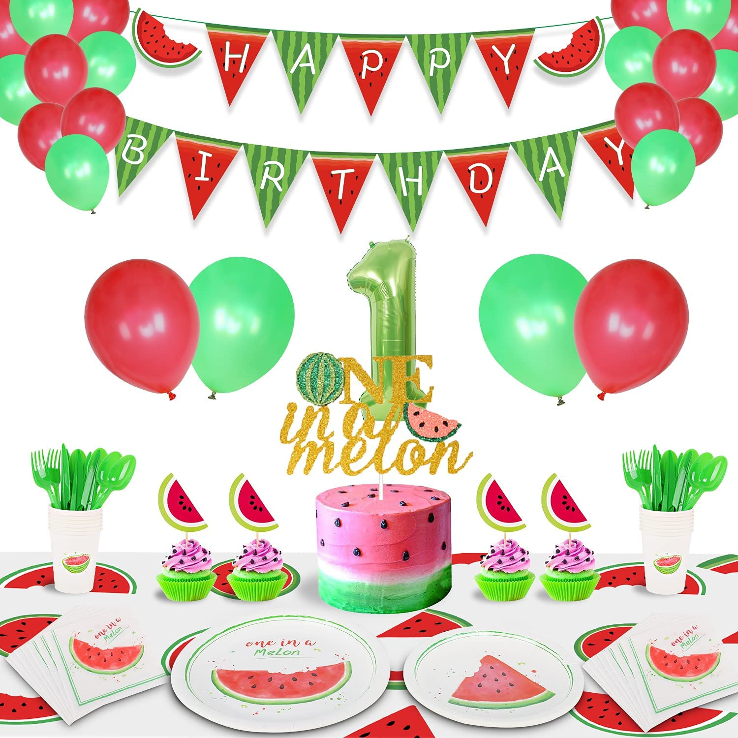 JHkim Watermelon Party Supplies, One in A Melon Party Decoration