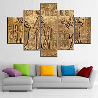 TUMOVO Abstract Pictures Ancient Egypt Script Paintings 5 Panels Prints on Canvas Wall Art Native Gift Living Room House D...