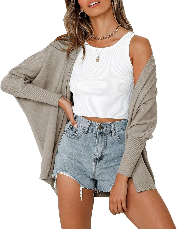 YeMgSiP Womens Batwing Sleeve Open Front Cardigan Sweaters Fall Ribbed Shawl Kimono Casual Lightweight Knit Drape Shrugs