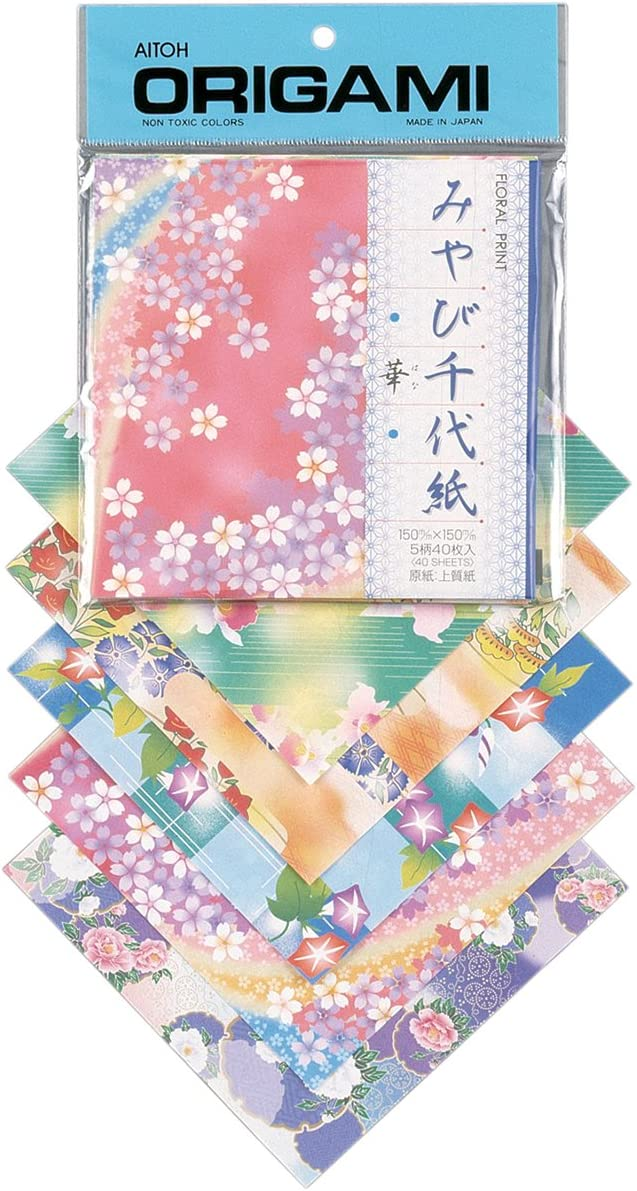 Aitoh Floral Print Origami Paper by Cheap mail order shopping 5.875-Inch favorite Sheets 5.875 40