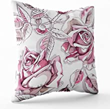 Crannel Double-Sided Printing Pillowcase 20X20 Inch Throwing Cushion Pattern Image Pink Rose Flowers Leaves White Background Invisible Zipper Square Decorative Home Sofa