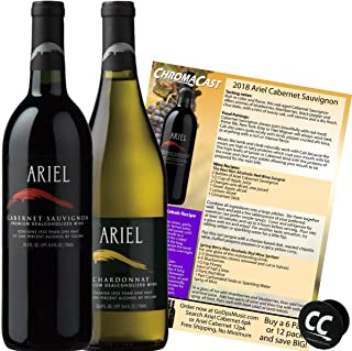 Ariel Cabernet & Chardonnay Non-Alcoholic Red & White Wine Experience Bundle with Chromacast Pop Socket, Seasonal Wine Pairings & Recipes, 2 Pack