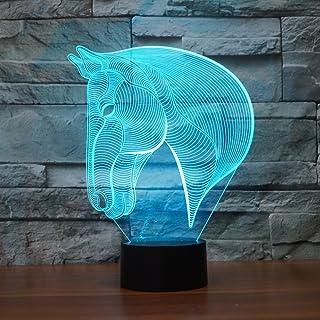 Tête de Cheval 3d Illusion lampe, Koreyoshi 7Changement de couleur Nuit lumière Home Decor Chambre à coucher Acrylique LE...