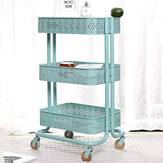 Kitchen Storage Trolley, Multi-purpose 3 Tier Carbon Steel Floor-mounted Serving Rolling Cart, with Wheels and Removable S...