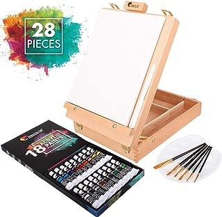 Artina Le Mans Paleta y cart/ón para Pintar Set de Pintura Colores acr/ílicos Caballete de Pintura malet/ín Pinceles