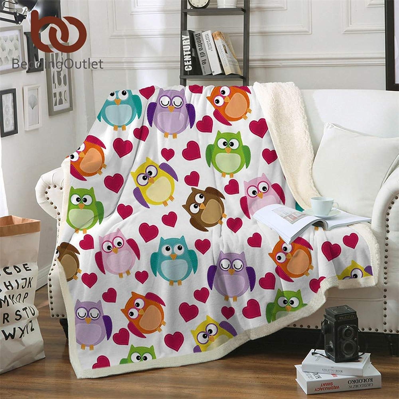 MoonSpring Beddingoutlet Owls Microfiber Bed Blanket Cartoon Throw Blanket for Kids Heart Girls Home Textiles colorful Printed Manta (130cmx150cm)