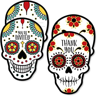 Big Dot of Happiness Day of the Dead - 20 Shaped Fill-in Invitations and 20 Shaped Thank You Cards Kit - Halloween Sugar Skull Party Stationery Kit - 40 Pack