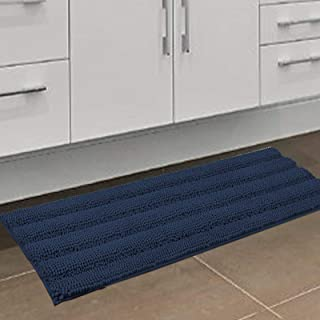 Bath Mats for Bathroom Extra Absorbent Shower Rugs Runners 47x17 Non Slip Luxury Soft Chenille Striped Bath Rugs Dry Fast ...