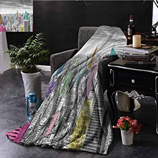 Luoiaax Cityscape Decor Luxury Special Grade Blanket NYC New York City Skyline Panoramic Picture Multi-Purpose use for Sofas etc. W60 x L50 Inch Gray Pink Blue Merigold