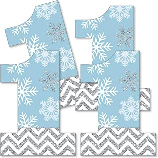 Big Dot of Happiness Onederland - One Shaped Decorations DIY Snowflake Winter Wonderland First Birthday Party Essentials - Set of 20