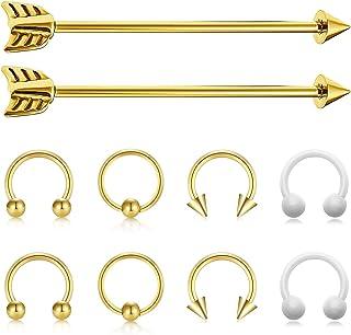 JFORYOU Arrow Industrial Piercing Barbell 14G 1 1/2 Inch Surgical Steel Industrial Barbell Horseshoe Hilix Earrings Body Piercing Jewelry