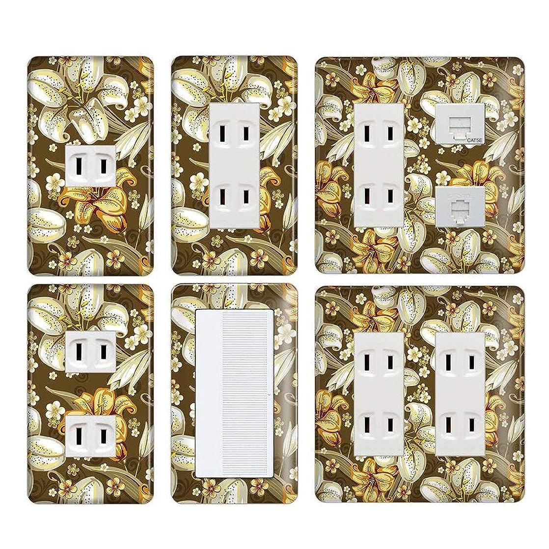 薬用イブニング昨日コンセントカバー スイッチカバー エレガント 花柄 フラワー 花 パナソニック コスモ ELGF13-1-CV-CN