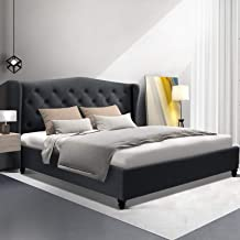 Artiss Double Bed Frame Fabric Tufted Headboard - Charcoal