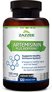 Zazzee Artemisinin, 100 mg per Capsule, 120 Veggie Capsules, 4 Month Supply, Plus 5 mg BioPerine for Enhanc...