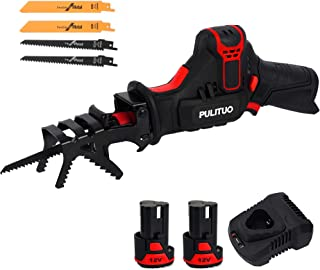 PULITUO Reciprocating Saw,Cordless Saw with Clamping Jaw,2x2000mAh Batteries,0-2700RPM Variable Speed Electric Saw,1 Hour ...