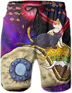 Mens Space Taco Laser Cat Quick-drying Swim Trunks Beach Shorts