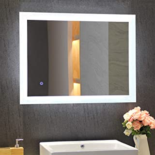 MIRPLUS Bathroom Vanity Mirror, Wall Mounted LED Backlit 24 x 32 Inch, Makeup Mirror with Touch Sensor for Warm White 3000K to Cool White 6000K Adjustable Color, Vertical or Horizontal Installation