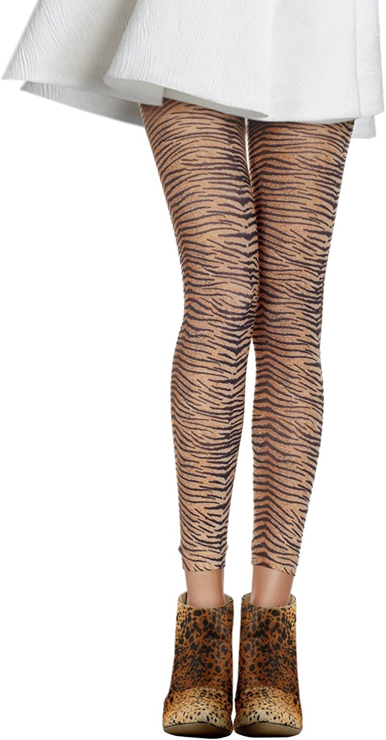 Opaque Tiger Print Footless Tights