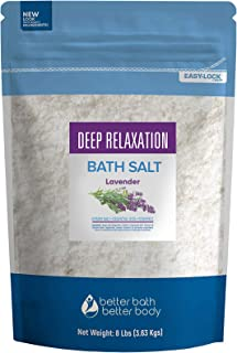 Deep Relaxation Bath Salt 128 Ounces Epsom Salt with Lavender Essential Oil Plus Vitamin C and All Natural Ingredients