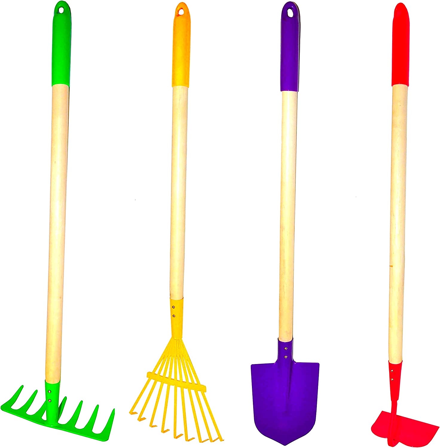 G & F JustForKids Kids Garden Tool Set Toy, Rake, Spade, Hoe and Leaf Rake, reduced size , made of sturdy steel heads and real wood handle, 4-Piece, Multicolored, 5yr+ : Tools & Home Improvement