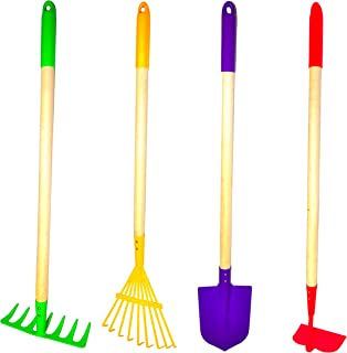 G & F Products JustForKids Kids Garden Tool Set Toy, Rake, Spade, Hoe and Leaf Rake,..