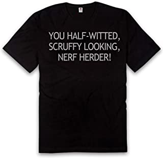 Vice51 Star Wars Half Witted, Scruffy Looking, Nerf Herder, Funny Quote, Black T-Shirt