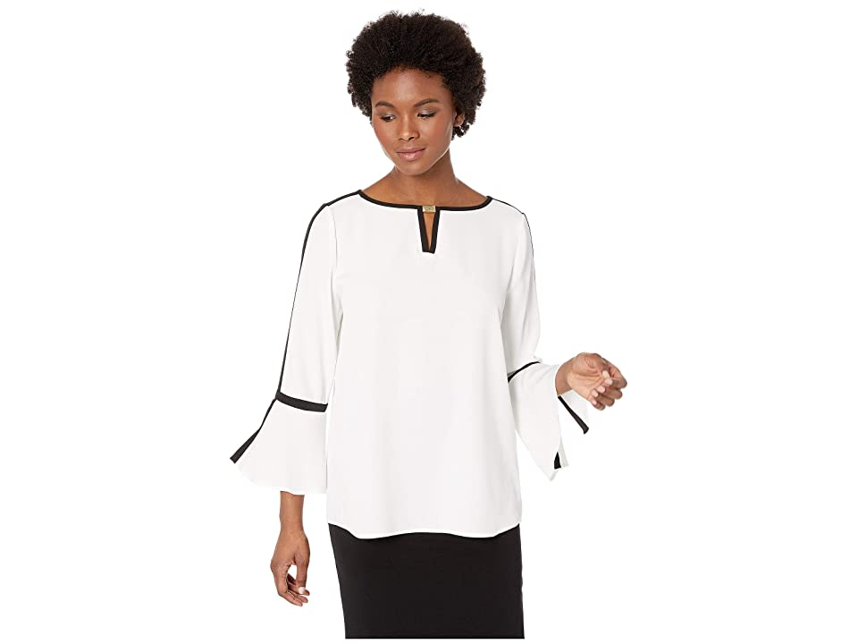 de659710917e30 Calvin Klein Bell Sleeve Top with Piping and Hardware (Soft White) Women's  Clothing