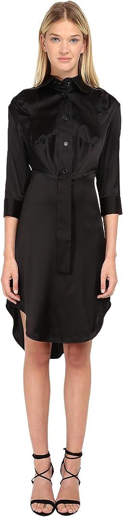 Stretch Satin Animal Shirt Dress