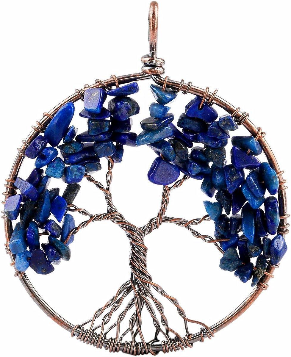 TUMBEELLUWA Tree of Life Pendant Healing Crystal Necklace Gemstone Chakra Copper Plated Handmade Jewelry for Women Men