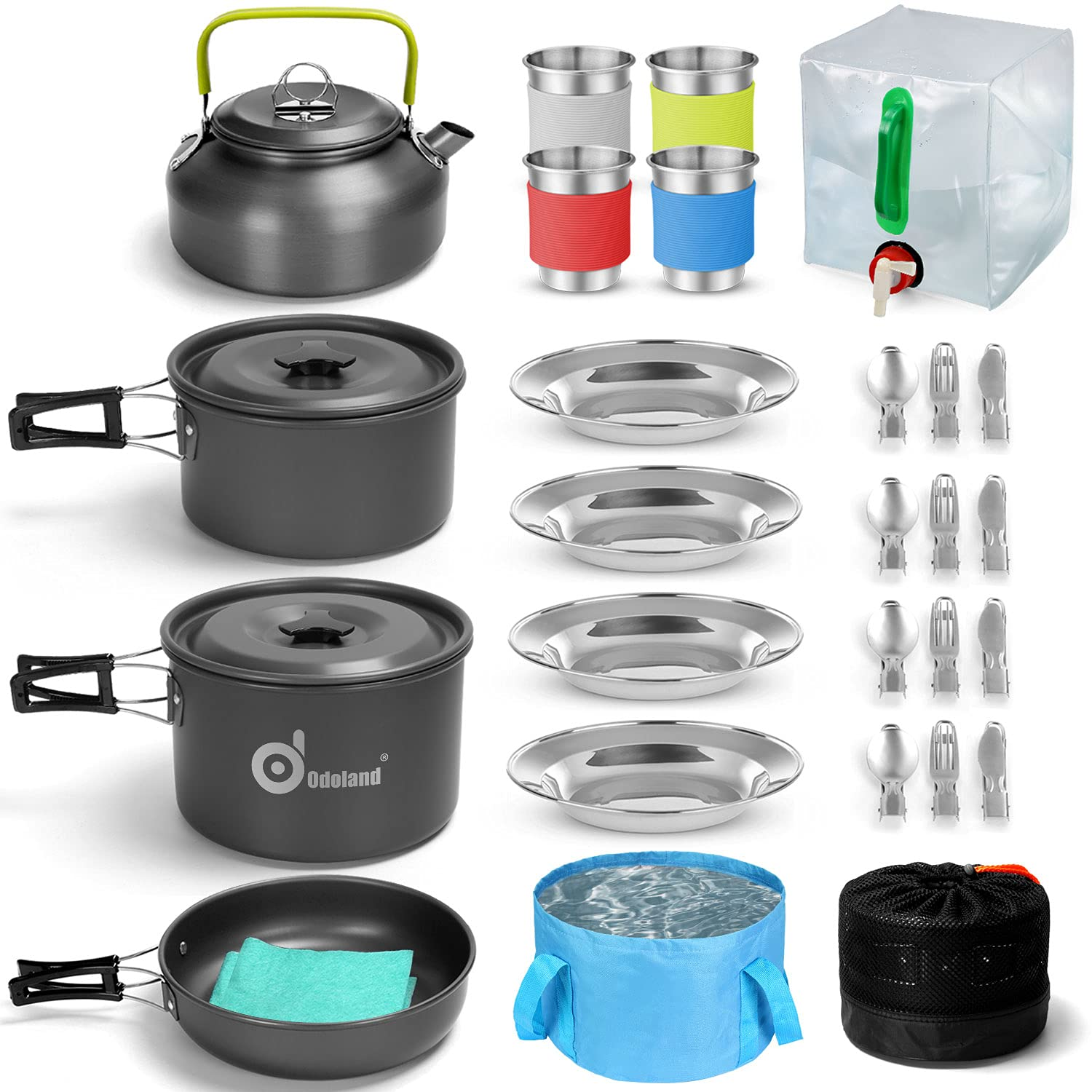 Odoland 29pcs Camping Cookware Mess Kit, Non-Stick Lightweight Pots Pan Kettle, Collapsible Water Container and Bucket, Stainless Steel Cups Plates Forks Knives Spoons for Outdoor Backpacking Picnic