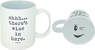 Funny Guy Mugs Shhh There's Wine in Here Ceramic Coffee Mug, White, 11-Ounce