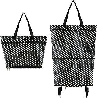 Toomett - Bolsa de la compra plegable con ruedas, carrito de la compra reutilizable, 2 – 1 carrito de la compra para el hogar, supermercado, bolsa de alta capacidad #3363 large Círculo blanco
