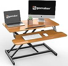 "ERGOMAKER Standing Desk Converter, 32""/80cm Wide Height Adjustable Quick Sit to Stand Desk Riser for Dual Monitor (Black F..."