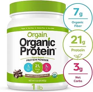 Orgain Organic Plant Based Protein Powder, Creamy Chocolate Fudge - Vegan, Low Net Carbs, Non Dairy, Gluten Free, Lactose Free, No Sugar Added, Soy Free, Kosher, Non-GMO, 1.02 Pound
