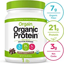 Orgain Organic Plant Based Protein Powder, Creamy Chocolate Fudge - Vegan, Low Net Carbs, Non Dairy, Gluten Free, Lactose Free, No Sugar Added, Soy Free, Kosher, Non-GMO, 1.02 Pound