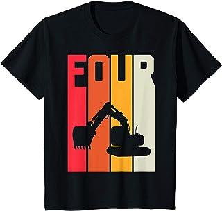 Enfant 4 Ans Anniversaire Retro Excavateur Construction Garçon T-Shirt